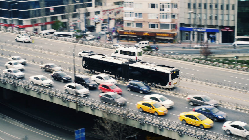 bus and cars